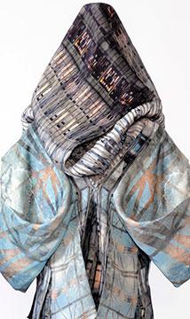 Detail, Digitally Printed Silk Shantung Dress by Kathleen Kowalski; 2015