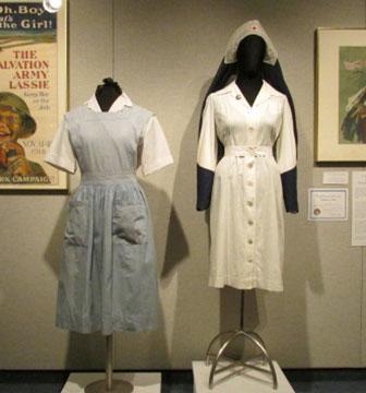 Women's 1940s American Red Cross Denim Apron and Nurse's Uniform