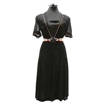 Net Dress and Leather Belt with FOGA Label (Late 1930s-41) Gift of Parsons