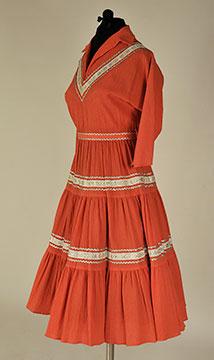 Navajo-Inspired Dress with Metallic Trim; c. 1950; Gift of Finke