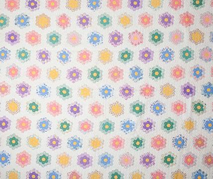 Cotton Grandmother's Flower Garden Quilt; c. 1930s; Gift of Cornetts
