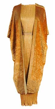 Silk Delphos Dress and Velvet Kaftan by Mariano Fortuny (1920s) Gift of the Cheetham Family