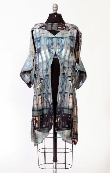Digitally Printed Silk Shantung Dress by Kathleen Kowalski; 2015