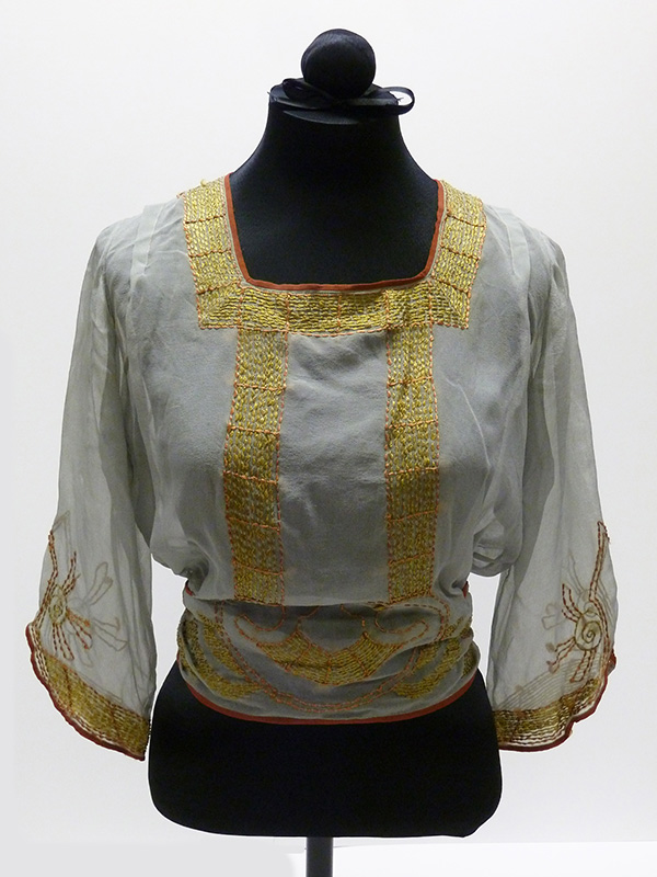 Embroidered Silk Crepe Blouse (1900s-10s); Missouri Historic Costume and Textile Collection, University of Missouri, Columbia
