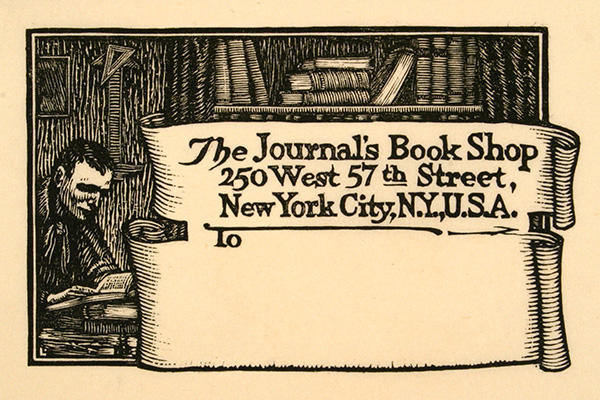 Mailing Label, Woodcut Print on Paper by Julius J. Lankes (1923); Museum of Art and Archaeology, University of Missouri, Columbia
