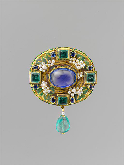 Pin of Gold, Sapphire, Pearls, Emeralds and Enamel by Francis Koehler (ca 1905); Metropolitan Museum of Art, New York