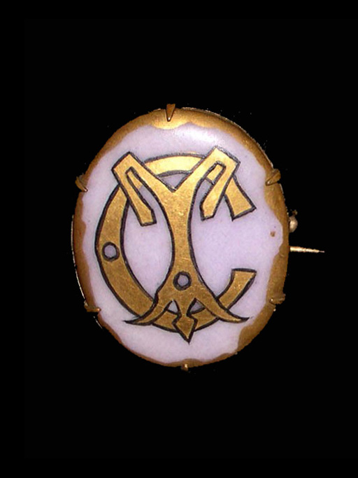 China-Painted Porcelain Brooch (American ) (1900-30); E. Zorn Karlin