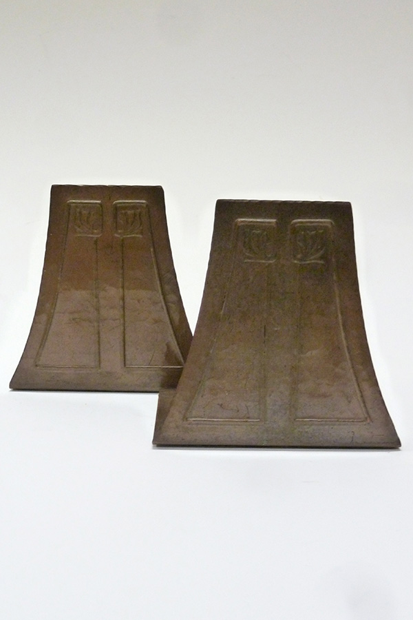 Hammered Copper Book Ends by Roycroft Shops (ca 1915); T. Patterson