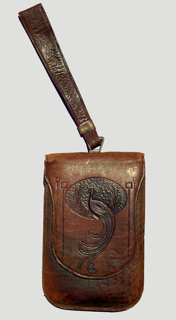 Embossed Leather Wrist Purse with Peacock Motif (1900-30); E. Zorn Karlin