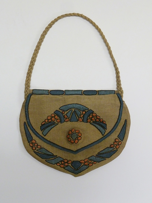 Stenciled and Embroidered Linen Purse with Braid Strap (1920s); Missouri Historic Costume and Textile Collection, University of Missouri, Columbia