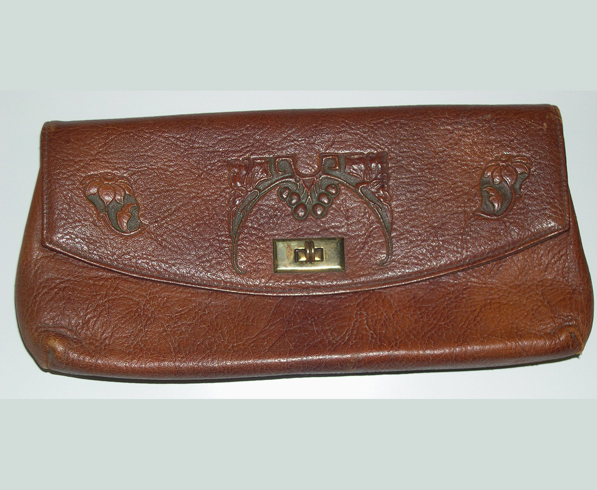 Embossed Leather Clutch with Stylized Design .1900-30); E. Zorn Karlin