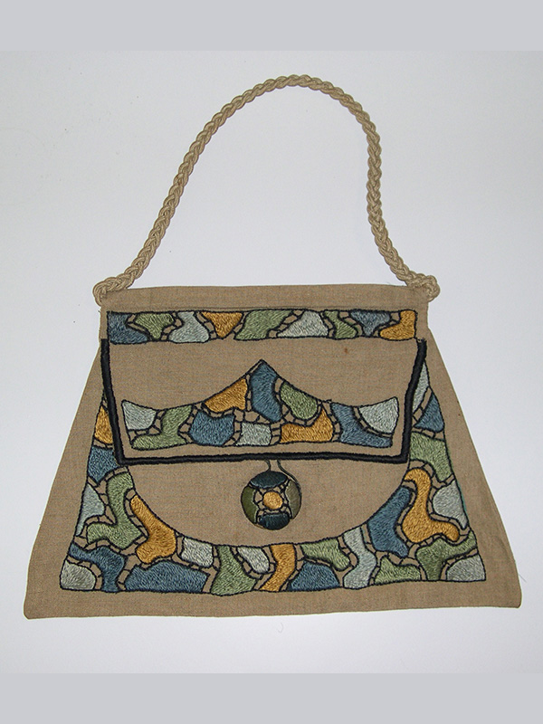 Linen Purse with Embroidered Stencil in the style of Royal Society (1900-20); E. Zorn Karlin