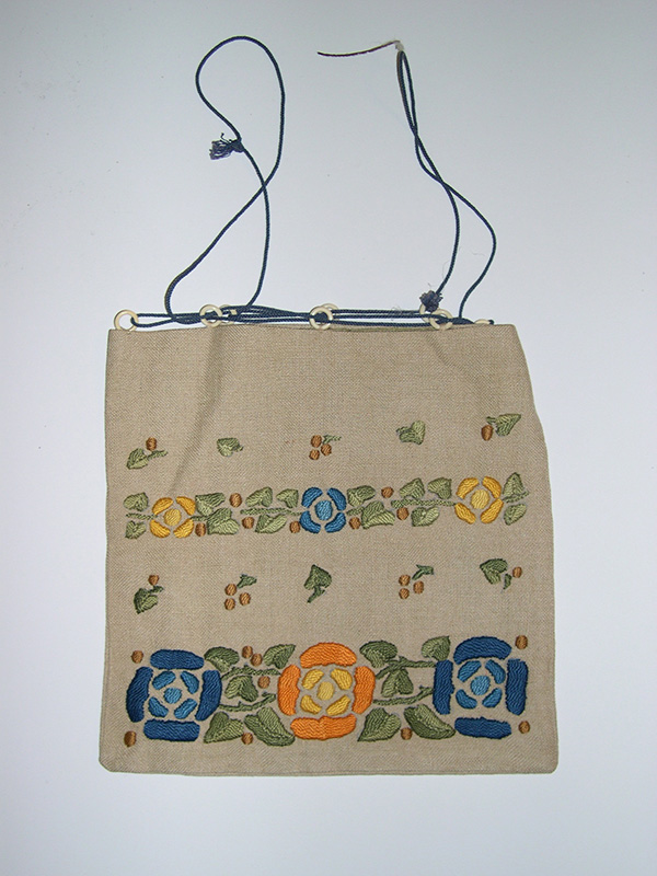 Embroidered Linen Drawstring Purse with Celluloid Hoops (1900-20); E. Zorn Karlin