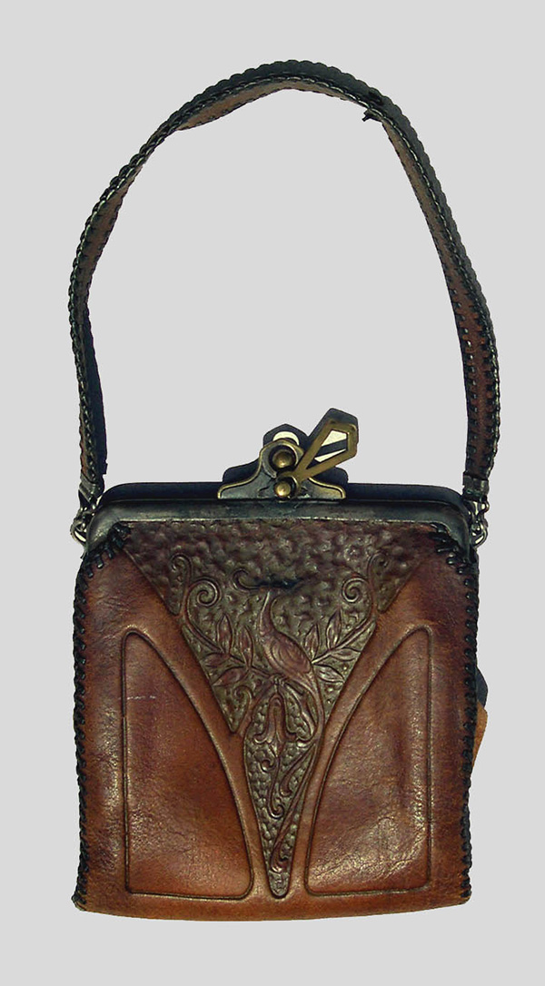 Embossed Leather Handbag with Peacock Motif (1900-30); E. Zorn Karlin
