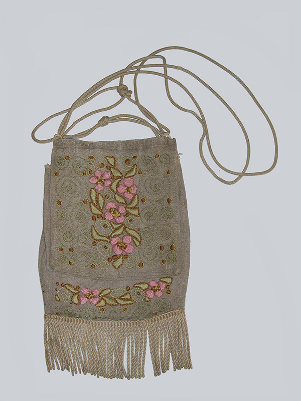 Embroidered Linen Drawstring Purse with Fringe (1900-20); E. Zorn Karlin