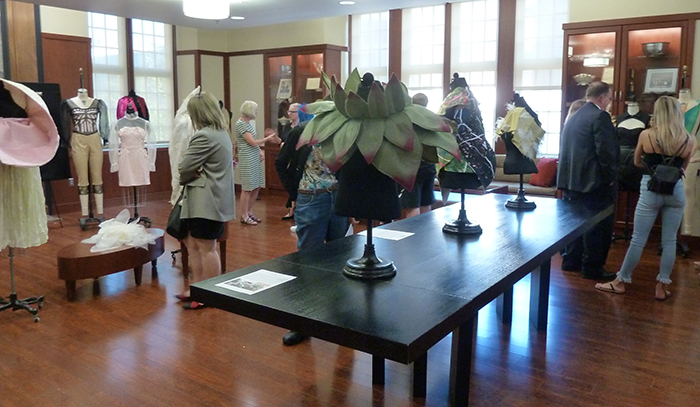 attendees viewing the exhibit