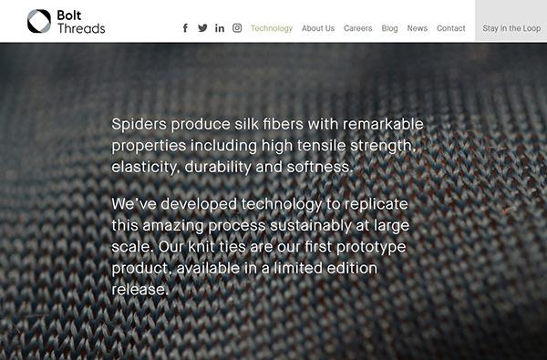 Bolt Threads website screenshot