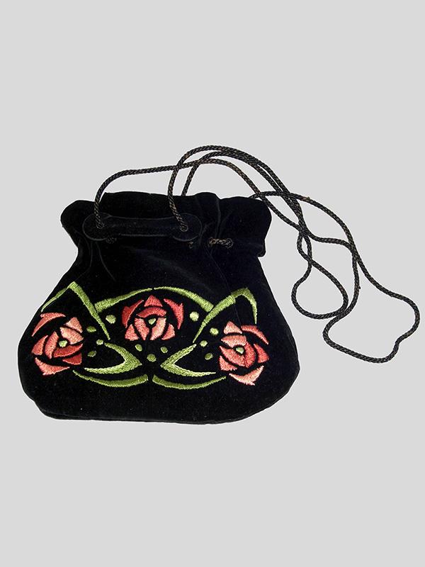 Silk Velvet Drawstring Purse with Floral Embroidery (1900-20); E. Zorn Karlin