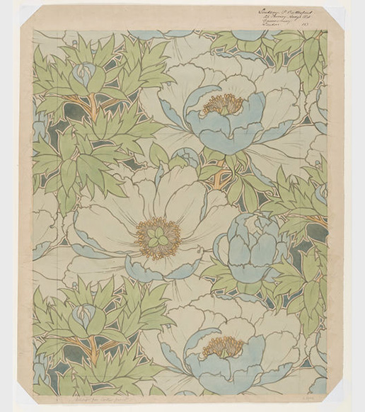 Watercolor Design for Printed Textile by Lindsay Phillip Butterfield (ca 1910) © Victoria and Albert Museum, London