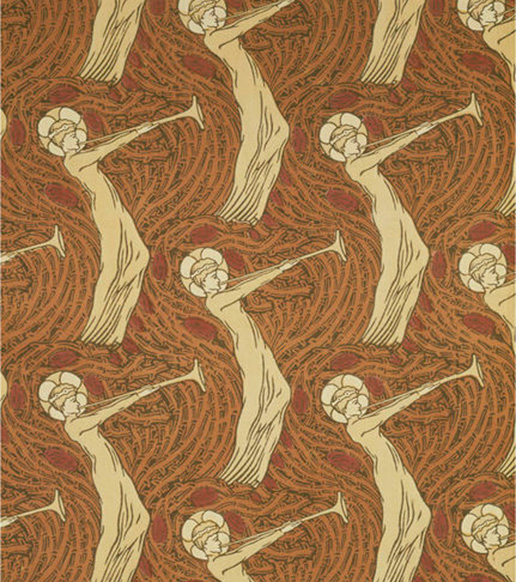 """Block-Printed Cotton Furnishing Fabric – """"The Angel with the Trumpet"""" Design by Herbert Percy Horne Printed by Simpson & Doglee (ca 1884); © Victoria and Albert Museum, London"""