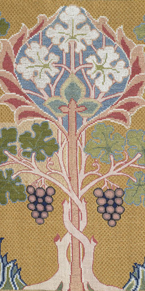 Linen Cross Stitch and Embroidery Picture Designed by Philip Speakman Webb and Made by Mary Morris (1885-1890); © Victoria and Albert Museum, London