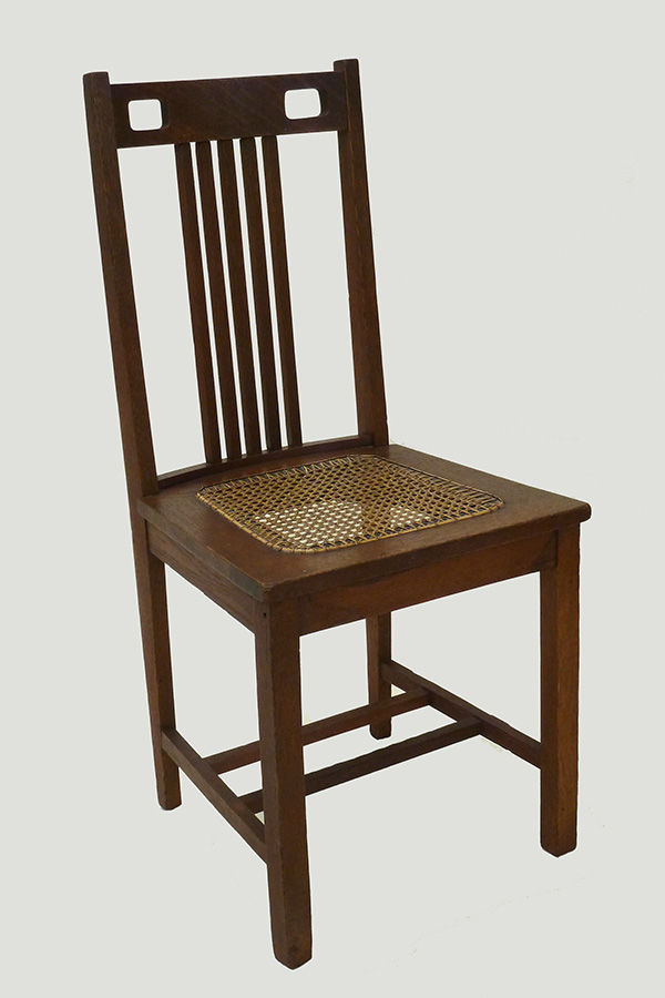 Wood and Cane Dining Chair; Maker Unknown (ca 1915); T. Patterson