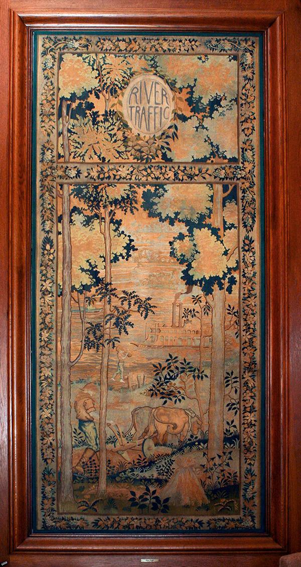 "Hand-Loomed Wool Tapestry – ""River Traffic"" by Lorentz Kleiser for Missouri Capitol Senate Lounge (ca 1923) Senate Photographer Harrison Sweazea"