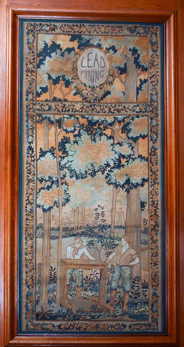 "Hand-Loomed Wool Tapestry – ""Lead Mining"" by Lorentz Kleiser for Missouri Capitol Senate Lounge (ca 1923) Senate Photographer Harrison Sweazea"