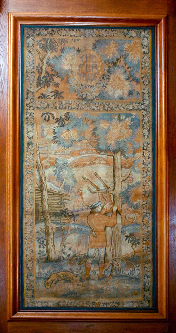 "Hand-Loomed Wool Tapestry – ""The Fur Trade"" by Lorentz Kleiser for Missouri Capitol Senate Lounge (ca 1923) Senate Photographer Harrison Sweazea"
