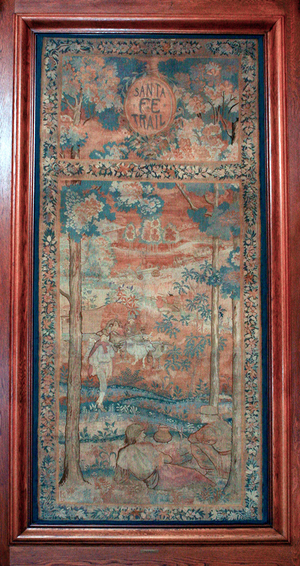 "Hand-Loomed Wool Tapestry – ""Santa Fe Trail"" by Lorentz Kleiser for Missouri Capitol Senate Lounge (ca 1923) Senate Photographer Harrison Sweazea"