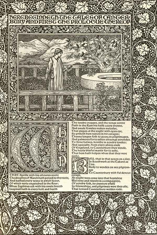 Facsimile of the Kelmscott Press Chaucer - Pictures Designed by Sir Edward Burne-Jones, Printed by William Morris (Right title page) (1896); MU Ellis Special Collections and Rare Books, University of Missouri, Columbia