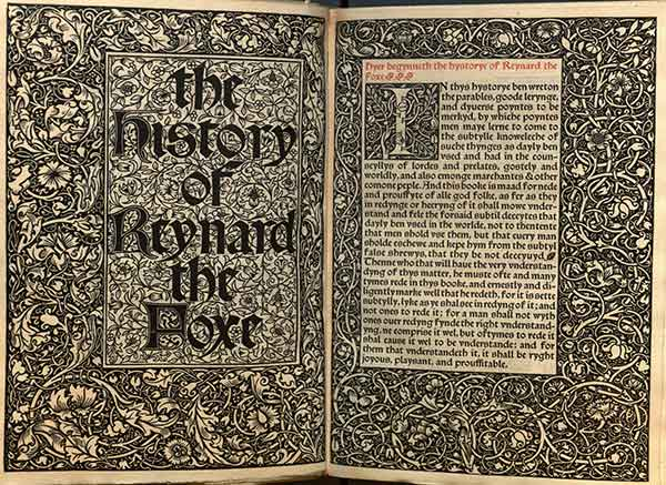 The History of Reynard the Fox; [done into English out of Dutch] by William Caston [corr. By Henry Halliday Sparling] Hammersmith: Kelmscott Press (1893) MU Ellis Special Collections Rare Folio, University of Missouri, Columbia