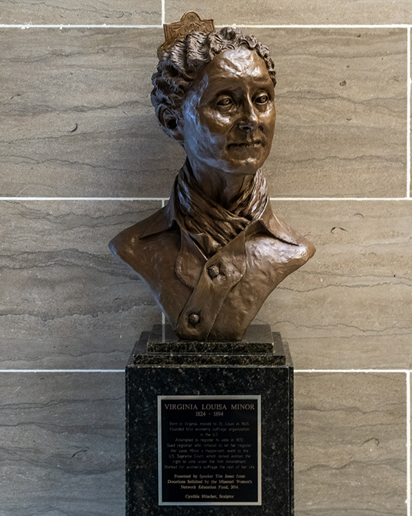 Virginia Minor Bronze Bust by Cynthia Hitschler. 2014. Courtesy of the Missouri State Museum
