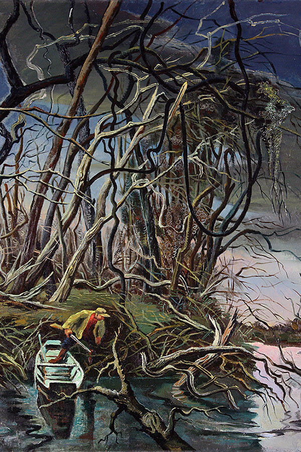 'Mink Trapper on Finley Creek' by Georges Schreiber (1947) Museum of Art and Archaeology, University of Missouri
