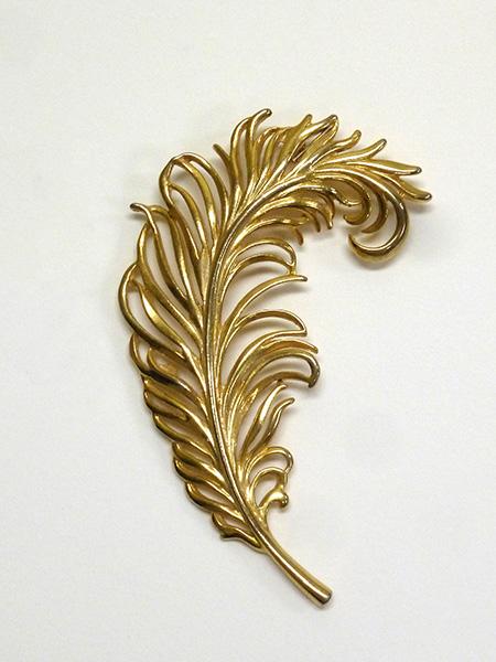 Metal Feather Brooch (1950s-60s) N. Johnston