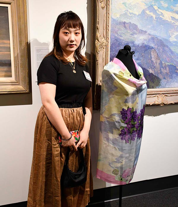 Ruiyao Yuan with 'Evergarden' Silk Scarf (2019) Photograph by Thomas Sharenborg, Rocheport, Missouri