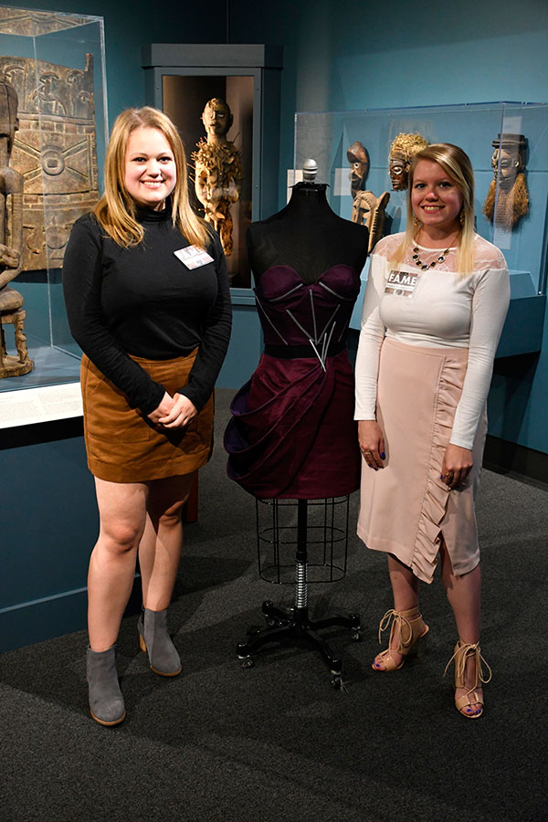 Left to Right: Stephanie Graviett and Meghan Alexander with Entrapment Dress (2019) Photograph by Thomas Sharenborg, Rocheport, Missouri