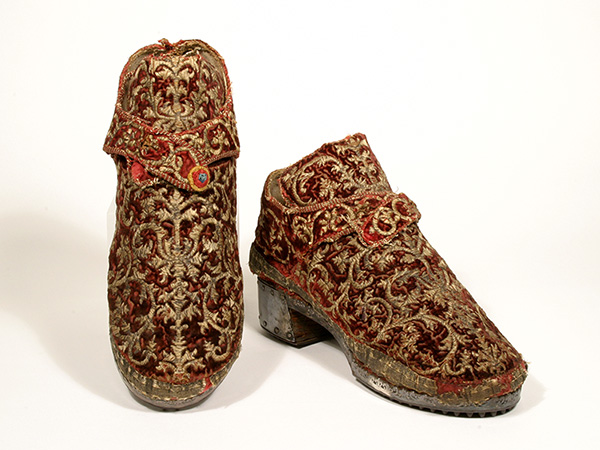 Textile, Leather and Silver Shoes, British (ca 1600) Museum of Art and Archaeology, University of Missouri
