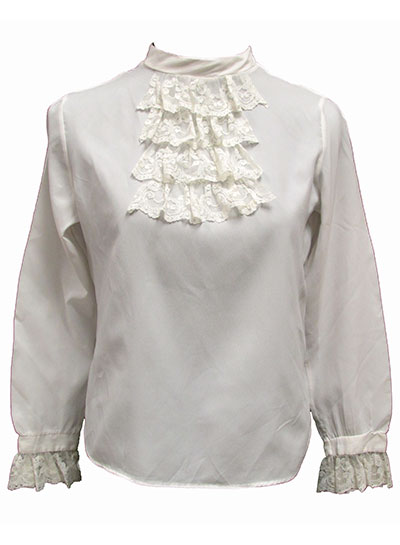 Polyester Blouse with Lace Jabot and Cuffs (1960s) Gift of Harvey