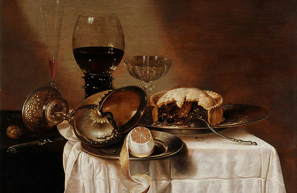 'Still Life with a Meat Pie, Nautilus Goblet, Silver Plats, and Glassware;' Attributed to Cornelis Mahu after a Lost Original by Willem Claesz Heda (17<sup>th</sup> Century) Museum of Art and Archaeology, University of Missouri