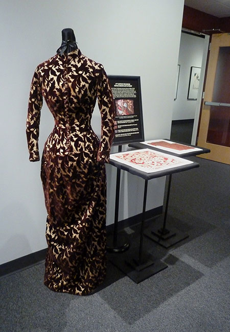 Silk Brocade Dress (1886) and Silk Textile Fragments (18th Century) Missouri Historic Costume and Textile Collection, University of Missouri