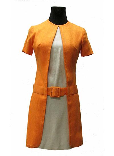 Orange and White Linen Dress Label Teena Paige (1960s) Gift of Henderson