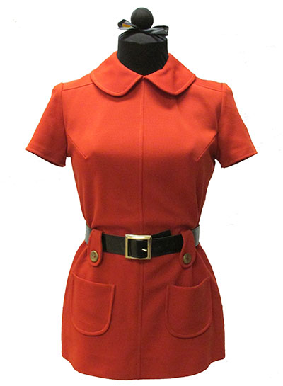 Orange Polyester Knit Tunic and Pants (1960s) Gift of Rogers