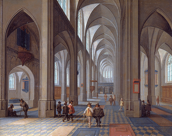 'Interior of a Gothic Church' by Peeter Neeffs, the elder (ca 1620) Museum of Art and Archaeology, University of Missouri