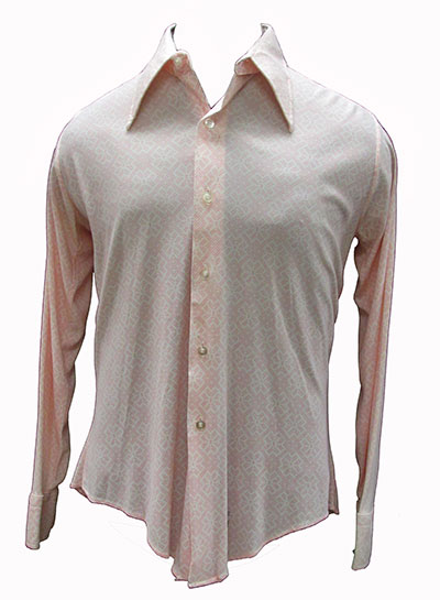 Pink and White Polyester Shirt (Late 1960s) Gift of Kaufmann