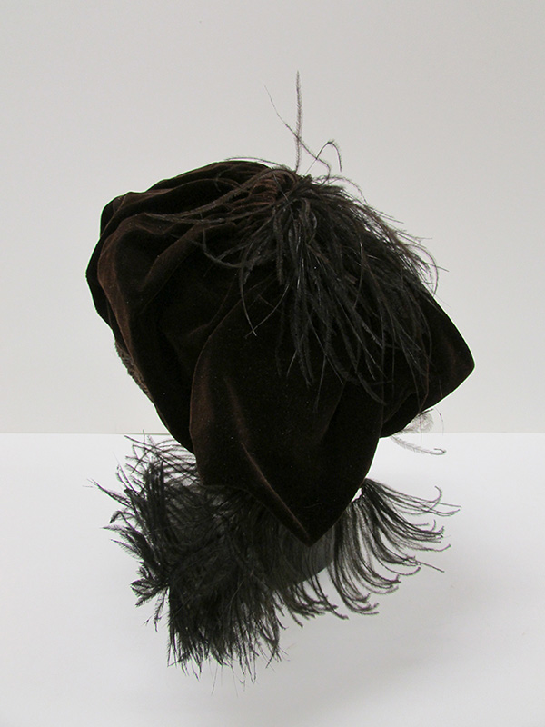Silk Velvet Hat with Ostrich Plume and Metal Thread Accents (1910s) Missouri Historic Costume and Textile Collection, University of Missouri