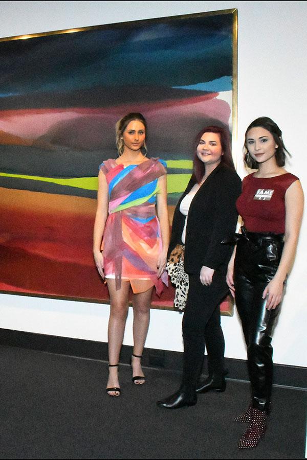 Left to Right: Model Amanda Pavetto, Molly Wainscott and Amanda Lee with'Fugue Dress' (2019) Photograph by Thomas Sharenborg, Rocheport, Missouri