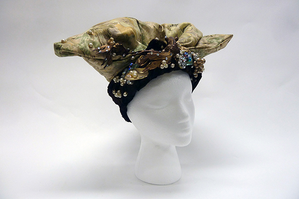 Silk and Velvet Hat with Metal, Faux Pearl and Rhinestone Accents by Hamlet Manzueta (1980s) Missouri Historic Costume and Textile Collection, University of Missouri