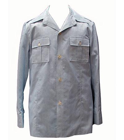 Blue and White Striped Cotton Safari Suit (1968) Gift of Martin