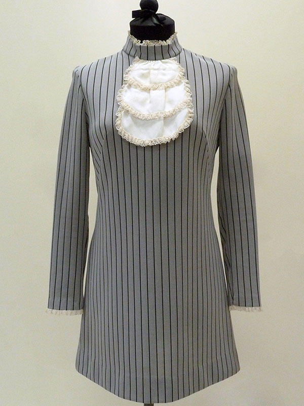 Striped Polyester Dress with Imitation Jabot by Gay Gibson (1967) Missouri Historic Costume and Textile Collection, University of Missouri